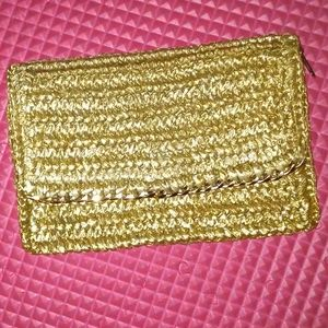H&M Gold Straw like clutch